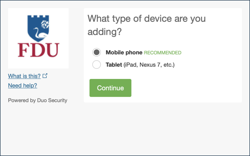 Duo - Choose Your Authentication Device Type